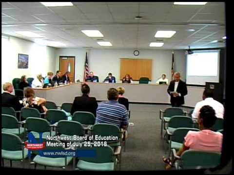 Northwest Board Of Education Meeting Of July 25, 2016
