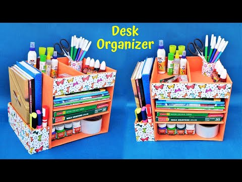 DIY : How to make Desk Organizer with waste cardboard | Best out of waste | Space saving organizer