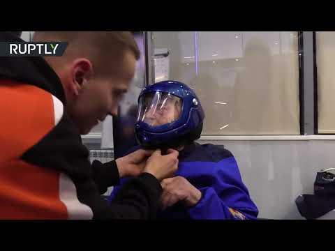 95yo adrenaline junkie  Russian granny flies in air tube