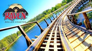 Riding The Raven Roller Coaster! 4K POV - Holiday World Theme Park
