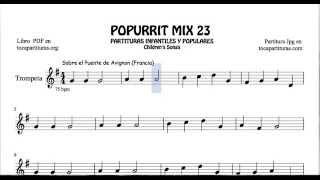 23 de 30 Popurrí Mix Partituras de Trompeta Sobre el Puente de Avignon Cinco Lobitos Rey Wnceslaoo