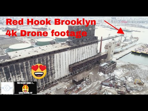 Red Hook Brooklyn NYC Industrial area Drone Footage 4K