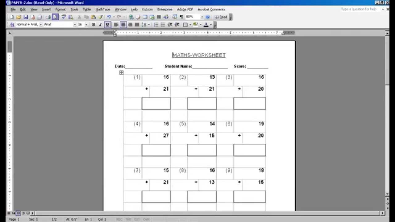 MATH WORKSHEET GENERATOR YouTube – Create Math Worksheets Online