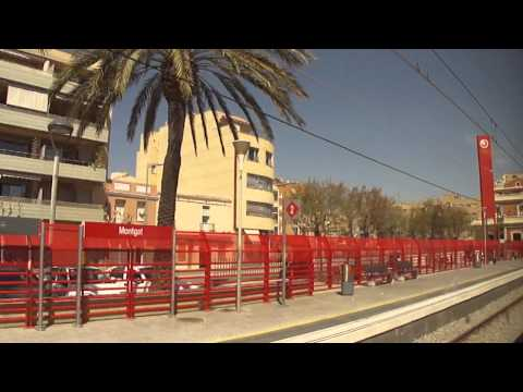 Train from Barcelona to Mediterranean beach-town Calella in Catalonia, Spain 2011-04-02