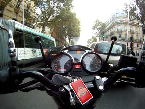 Moto Guzzi down Blvd St. Michel in Paris