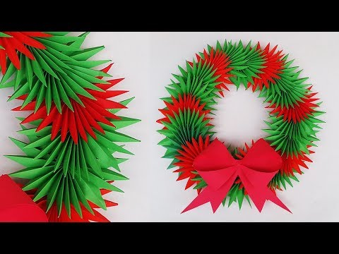 Paper Christmas Wreath | Paper Wreath for Christmas Decorations Ideas | DIY X-mas Crafts