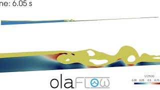 Wave breaking on a slope with oil over water (olaFlow/OpenFOAM®)