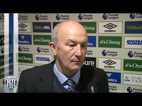 Tony Pulis reacts to Albion's 3-0 defeat at Everton