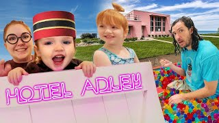 ADLEY HOTEL is now OPEN!!  Master Niko helps Dad check in! NO PETS! Orbeez Spa! family pretend play