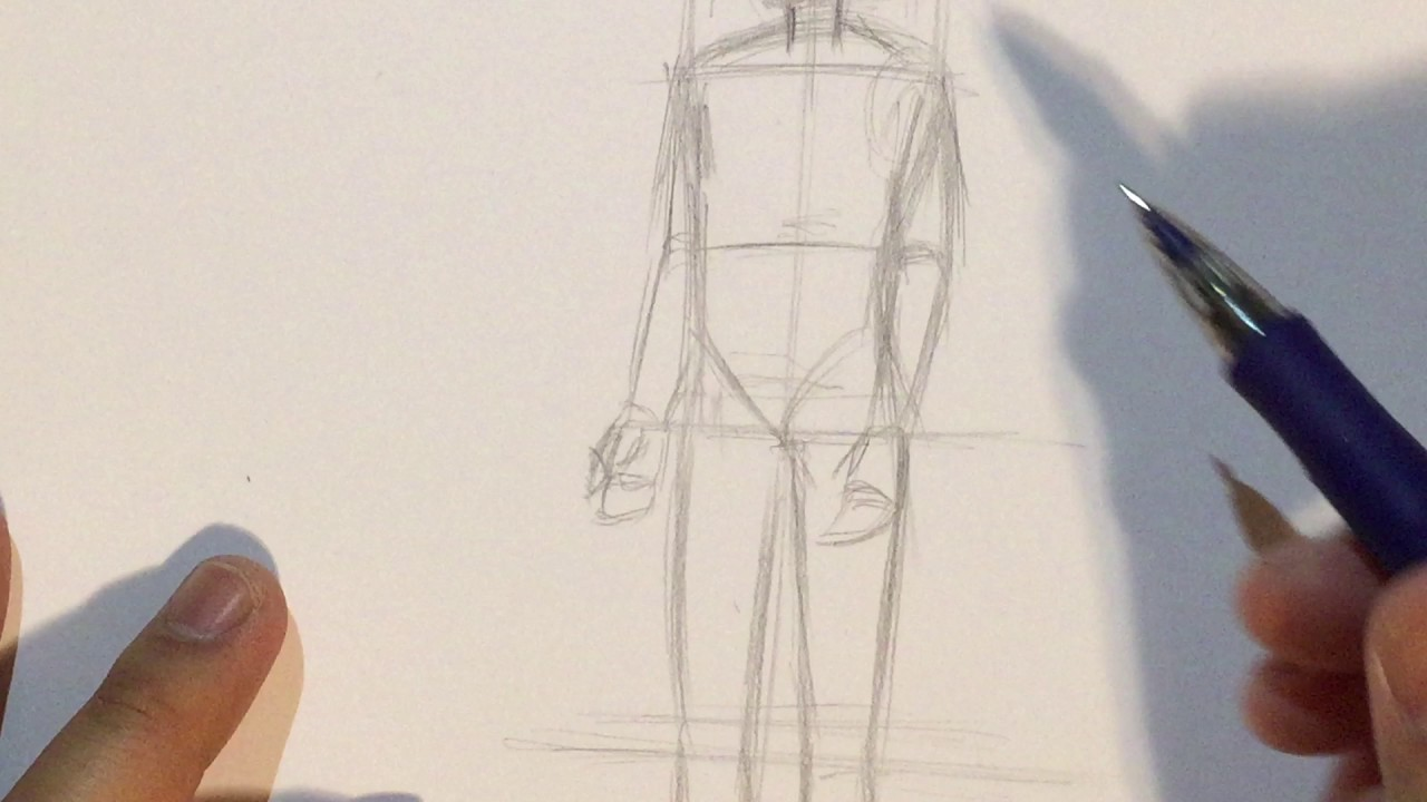 How To Draw Anime Boy Body Proportions 3 4 View No Timelapse Youtube