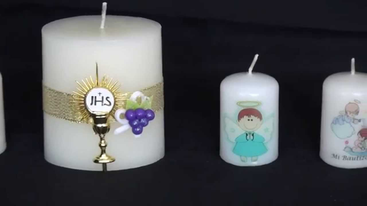Velas recordatorio bautizo primera comuni n matrimonio for Decoracion de velas para bautizo