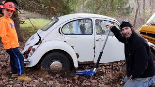 Vw Beetle Rescue |  Bug Sitting for 40 years in the woods.