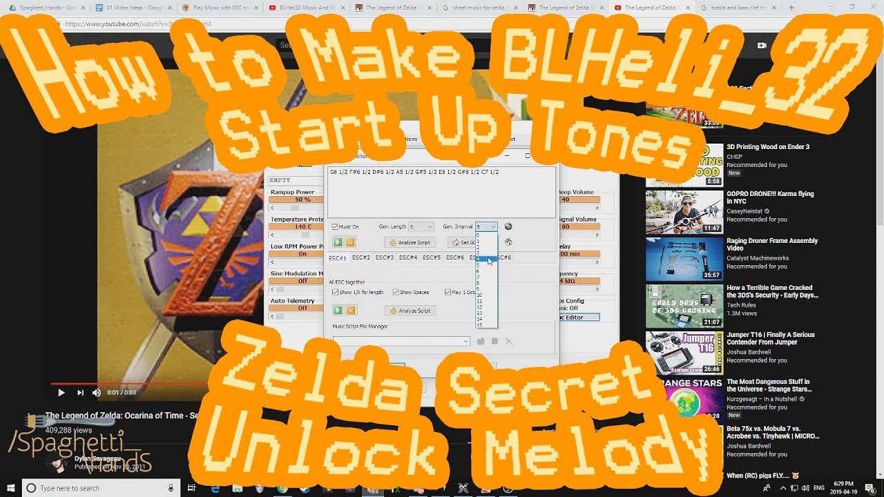 How to Convert Music into BLHeli_32 Start Up Tones    BLHeli_32 ESC MUSIC  Zelda Secret Unlock Sound