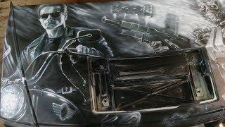 Аэрография моего  Hummer H2 из фильма с Арнольдом Шварценеггером Терминатор 2 и T 800