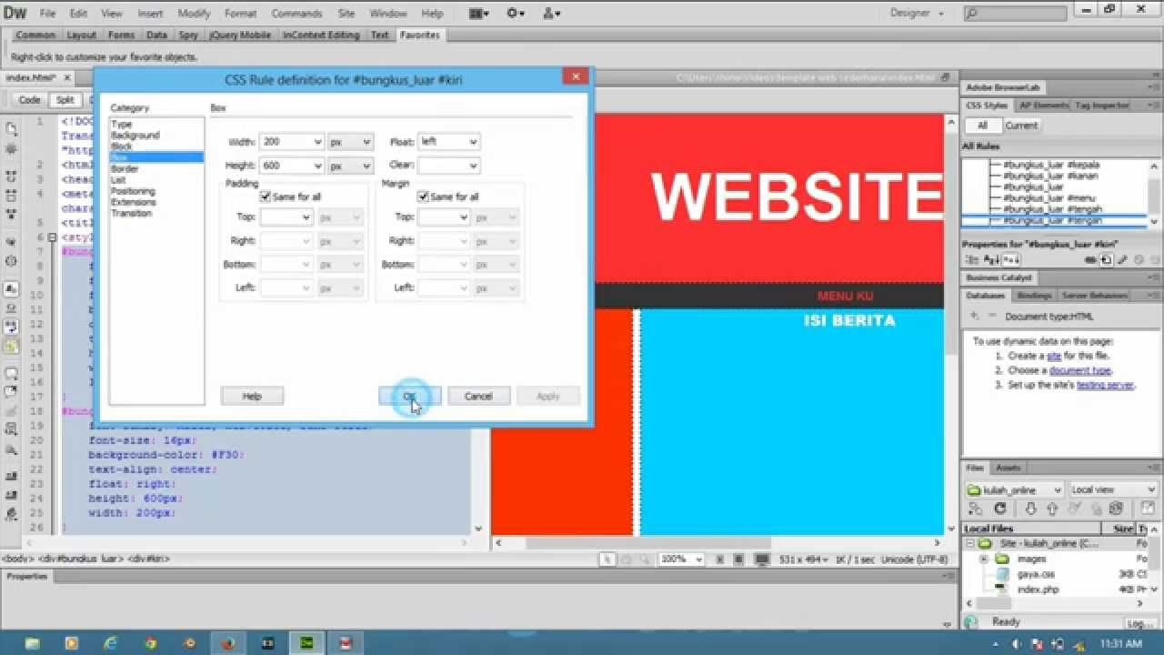 Belajar Membuat Template WEB Menggunakan Adobe Dreamweaver CS HTML - Template website dreamweaver free