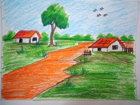 How to draw landscape village scenery very easy !! drawing for kids !! drawing tutorial