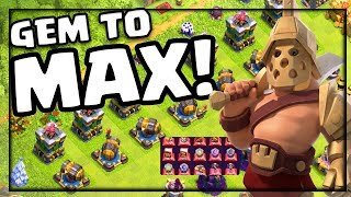 GEM TO MAX! Clash of Clans Gladiator Barbarian King Skin UNLOCKED and EVERYTHING ELSE!