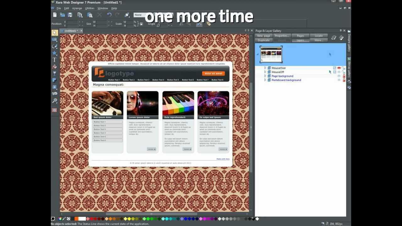 Xara Web Designer 7 - inserting a tiled background image ...
