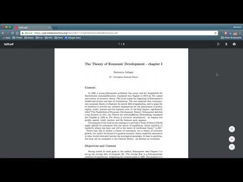 Reading Schumpeter: Theory of Economic Development, Chapter 1