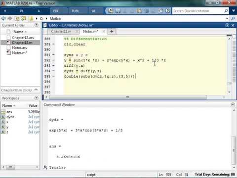 Symbolic Differentiation and Integration in MATLAB