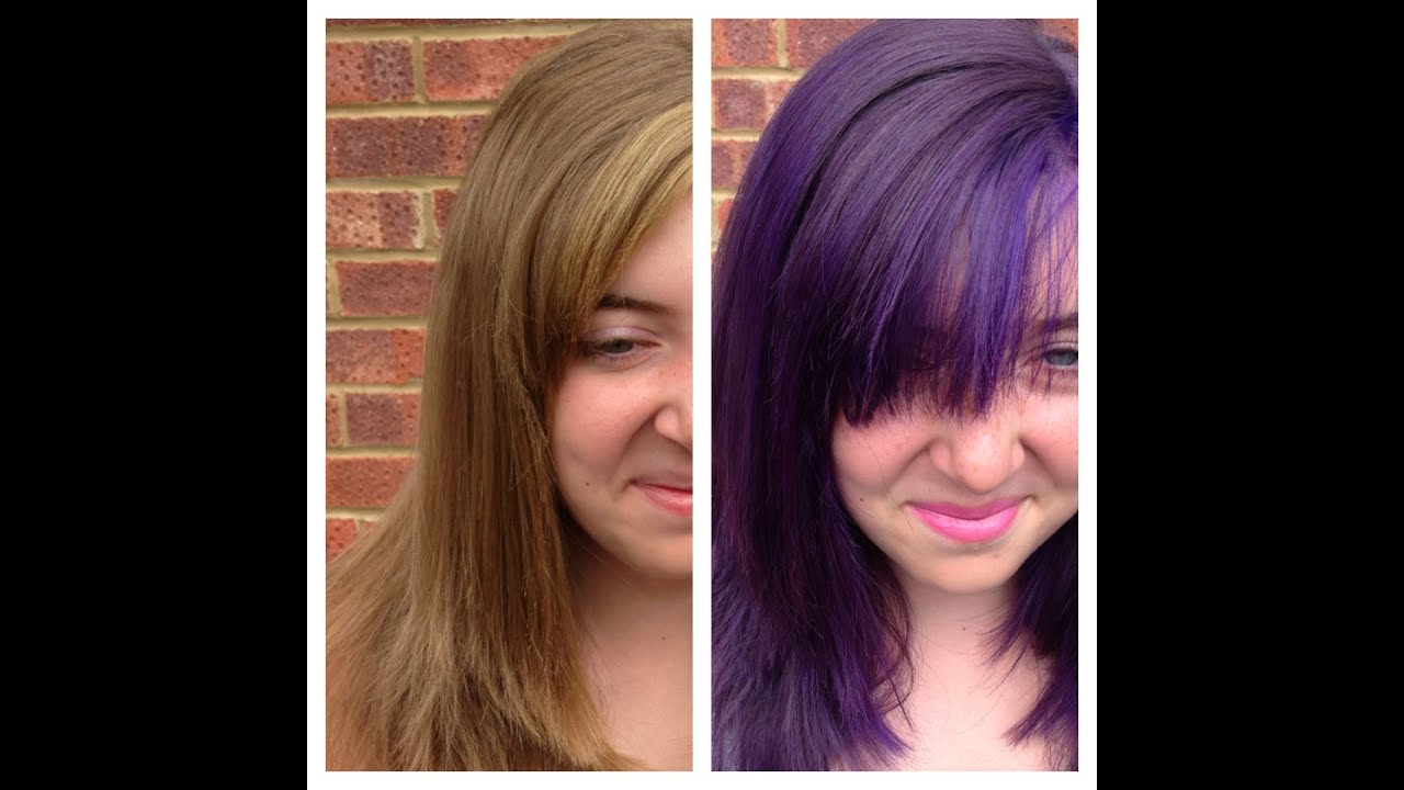 Natural Blonde To Purple Hair For A Temporary Shot Of