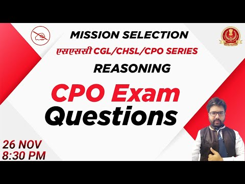 SSC CGL/CHSL/CPO SERIES | Reasoning | CPO Exam Questions | By Kuldeep Mahendras | 8:30 Pm