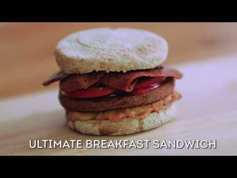 Vegan Breakfast Sandwich with Sgaia Vegan Meats and Cheese