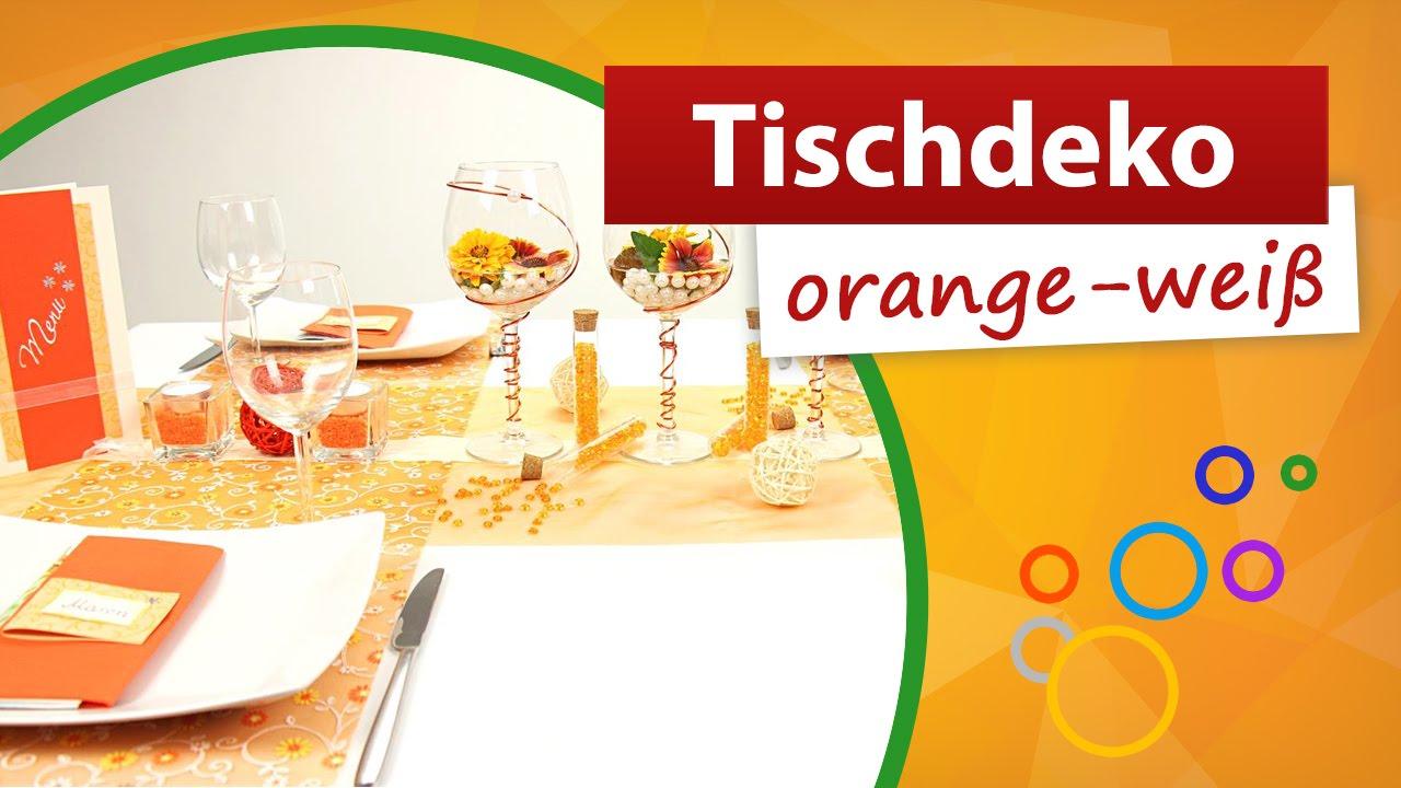 Tischdeko Orange Weiss Tischdekoration Trendmarkt24 Youtube