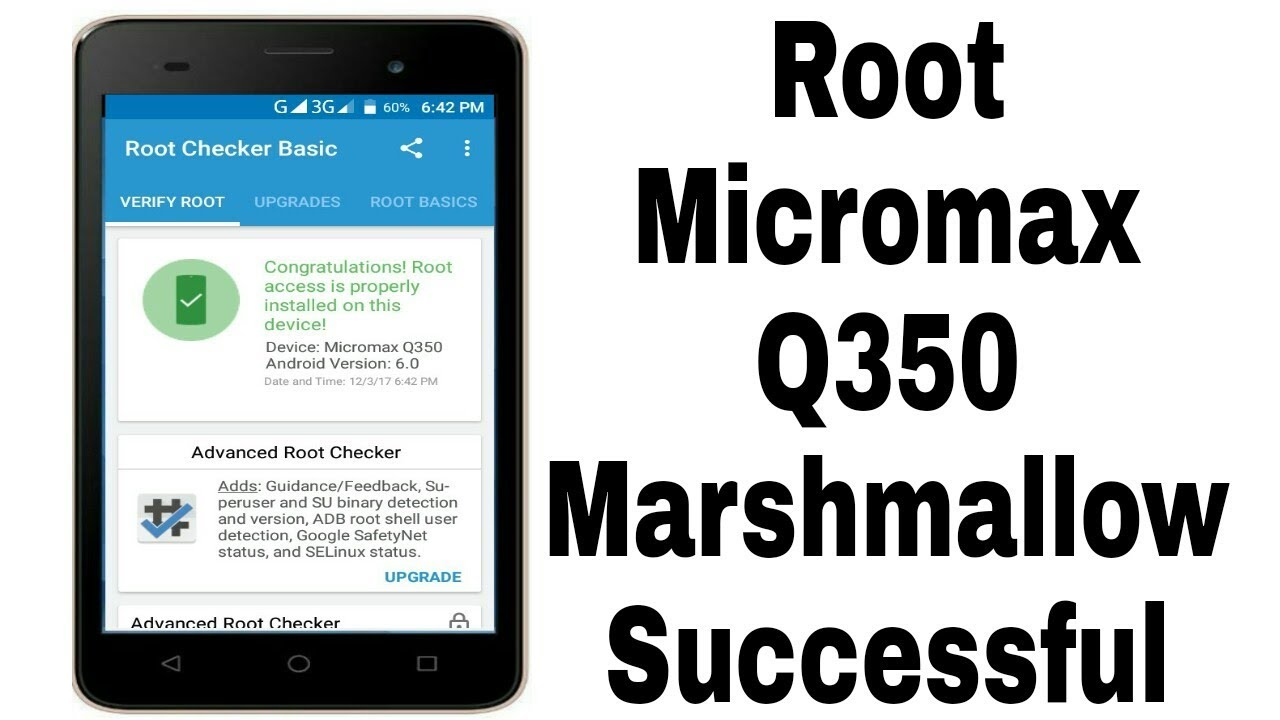 How to root Micromax canvas spark 2 plus [Q350] | Android Marshmallow  [Hindi]