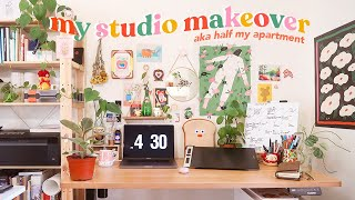 ART STUDIO APARTMENT MAKEOVER + studio tour ✸ working from home