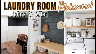 LAUNDRY ROOM MAKEOVER! 2020 | MID-CENTURY MODERN ROOM MAKEOVER