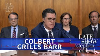"""Things finally got candid at William Barr's testimony when Lindsey Graham turned the floor over to Stephen Colbert. Subscribe To """"The Late Show"""" Channel ..."""