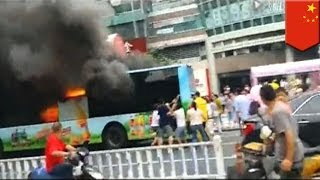 Man sets fire to bus and passengers in China - caught on video