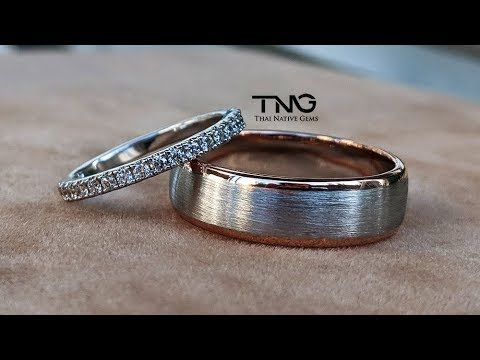 his-&-her-wedding-bands---two-tone-18k-white-&-rose-gold-band-and-3/4-eternity-diamond-bands