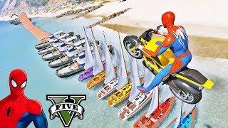 MOTOS com Homem Aranha e Super Heróis! Super Motos saltando sobre BARCOS - GTA V Mods - IR GAMES