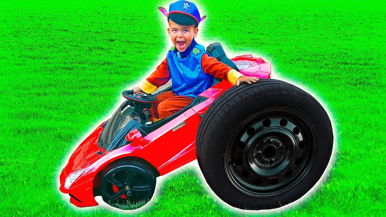 Dima transforming red power wheels car to giant car