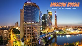 Moscow Russia At Night By Drone - Moscow City Russ...