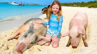 Nastya and her Family trip to the pig island