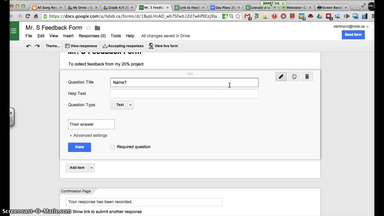 How to create a form for feedback in Google Forms - YouTube