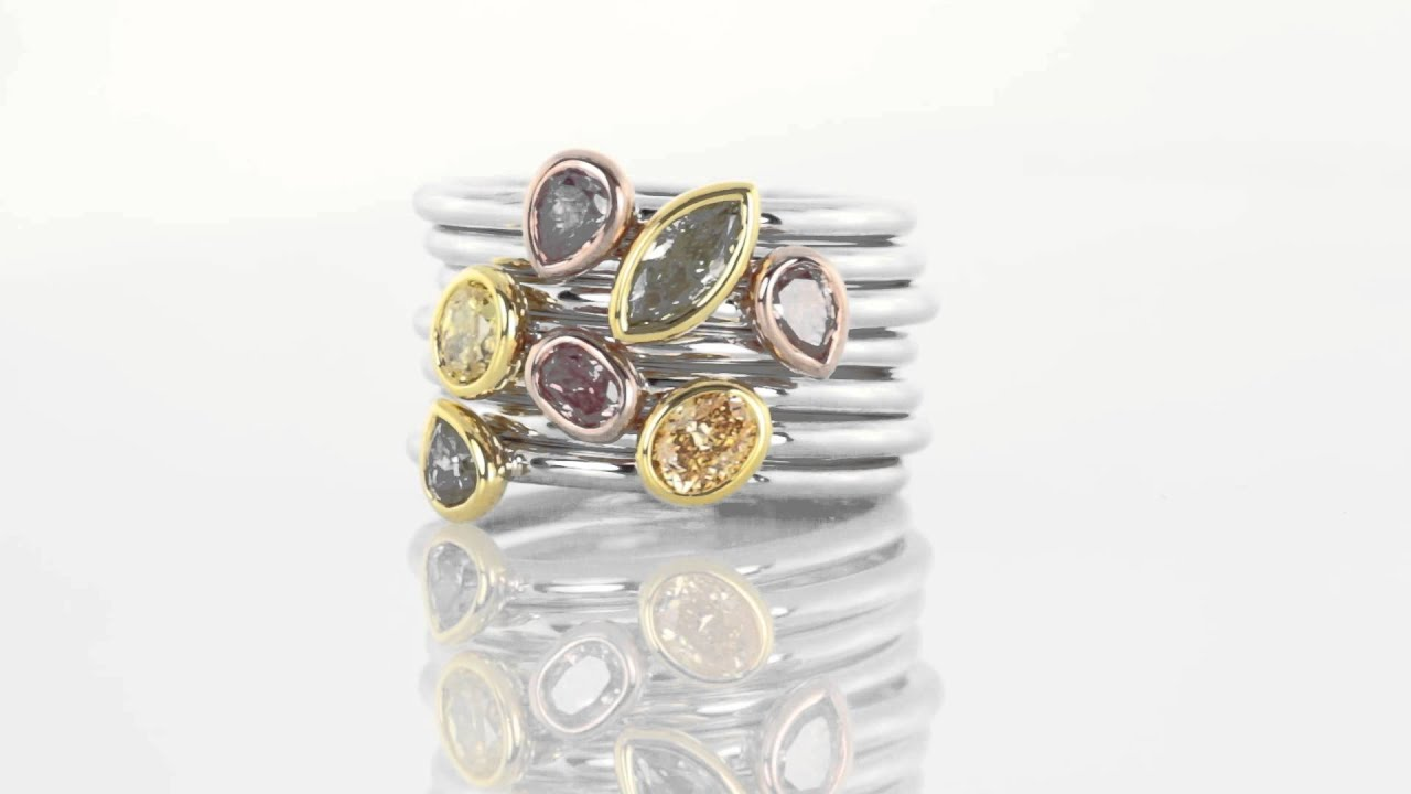 126 Carat Stackable Colored Diamond Rings In 18k Gold  Diamondenvy