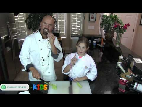 Cutting Celery kids - Knife Skills 101 with Chef Dennis Berry | Healthy Cooking Videos