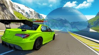BeamNG drive - Crashing Into Glass Ball With Cars & Dummy