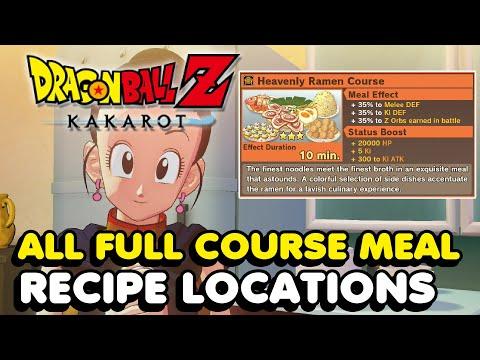 DBZ Kakarot - All Recipe Locations (Full Course Meal Recipes)