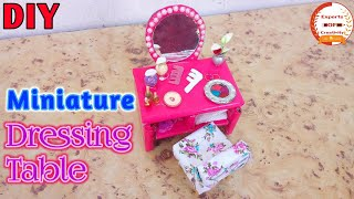 How To Make DIY Miniature Dressing Table|Doll House Mini Dressing Table|For Dolls|Miniature Craft
