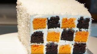 Gâteau damier pour Halloween (Halloween cake subtitled)