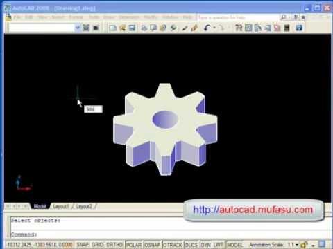 AutoCAD Tutorial 3D Gear