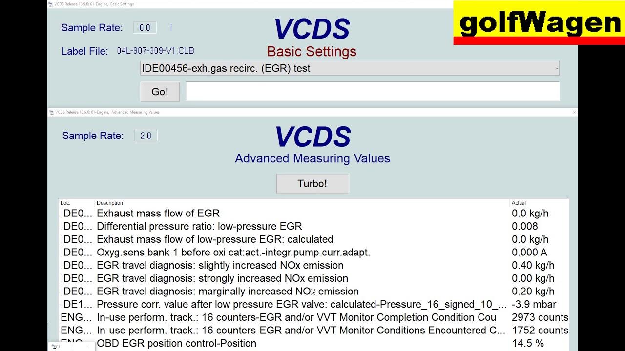 VCDS-VAG EGR test on VW Golf 7