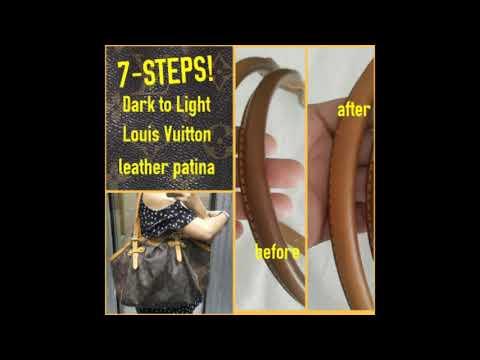 Amazing 7-STEPS Louis Vuitton cleaning Dark patina leather Tivoli GM monogram