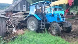 Day in farm, 2 MTZ 82s pulling stuck Maz crane