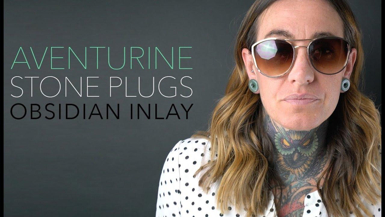 3 4 Plugs >> Aventurine Stone Plugs With Micro Obsidian Inlays 00g 3 4 Urbanbodyjewelry Com